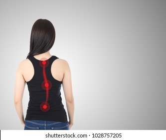 Asian girl with scoliosis, isolated on white