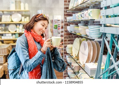 Asian girl shopping for kitchenware in retail store