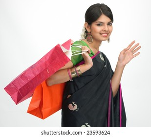 Asian girl in shopping mood posture