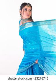 Asian girl showing her sari border