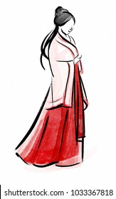 Asian girl silhouette Abstract brushstrokes in Chinese traditional calligraphic style on white background.