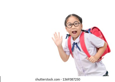 Asian girl student going to school and waving goodbye isolated on white background, back to school concept
