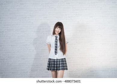 asian girl student in school japan uniform sexy