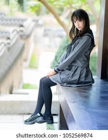 asian girl student in school uniform japanese style
