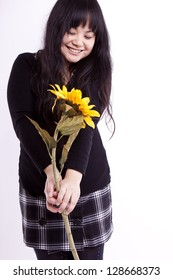 Asian girl with sunflower