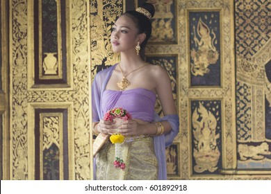 Asian girl in Thai dress
