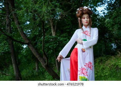 Asian girl in traditionan costume