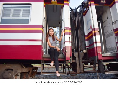 Asian girl with train trip