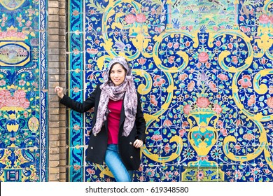 Asian girl travel in Iran. Asian girl wearing hijab, travel and lifestyle. girl in Tehran.
