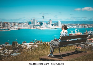 Asian girl traveling Auckland