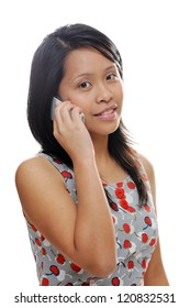 Asian girl using a phone and looking happy