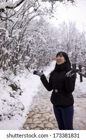 An asian girl in the winter