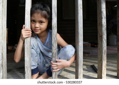 Asian girls in the local house in Thailand.