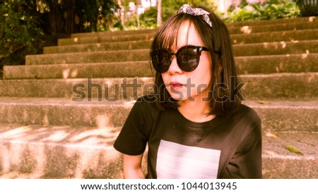 d6e44854196 Asian Girls Wearing Sunglasses Very Cute Stock Photo (Edit Now ...