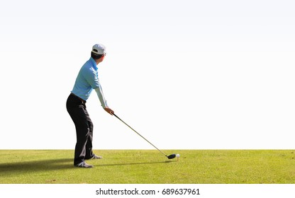 Asian golfer hit a golf ball by golf-club ( tee off  ball by driver (1-wood) isolated.