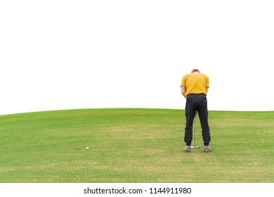 Asian golfer (man) 54 years old Putting golf ball on green  to a hole at golf course isolated on white background