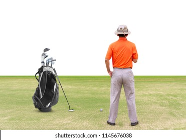 Asian golfer (man) 54 years old with golf bag are putting golf ball on green  to a hole at golf course isolated on white background.