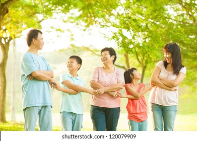 Asian grandparents, parents, grandchildren holding hands at outdoor park