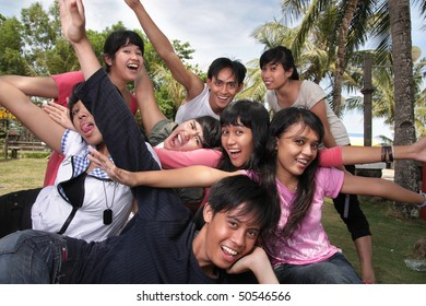 asian group cheerful outdoor