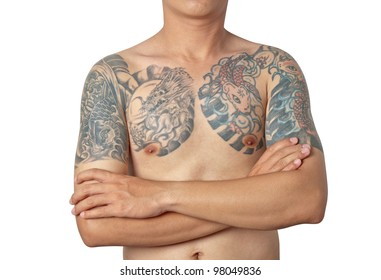 Asian guy with a tatoo posing