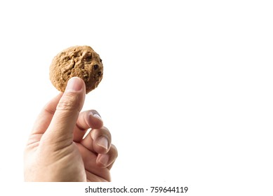 Asian Hand Holding a homemade cookie on white background or isolated