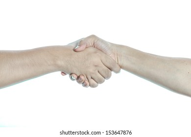asian hand shake isolate on white