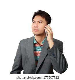 Asian handsome businessman call mobile phone isolated
