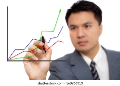 asian handsome businessman write data graph isolated