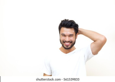 Asian handsome man with a mustache, smiling and laughing  on white background