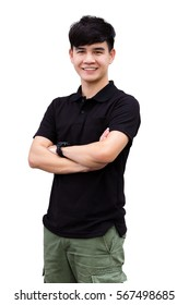 Asian handsome man wearing blank black t shirt standing with hands cross one's arm, against white background