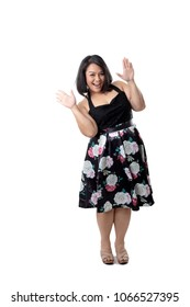 The Asian happy woman on the white background.
