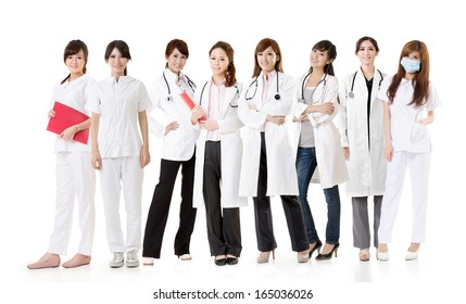 Asian health care team, group of people about healthy and medical concepts isolated on white background.