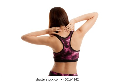 Asian healthy girl got neck pain and back pain  isolated on white background.