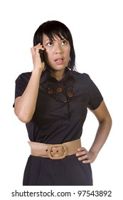 Asian - Hispanic Businesswoman Talking on the Cell Phone - Isolated Background