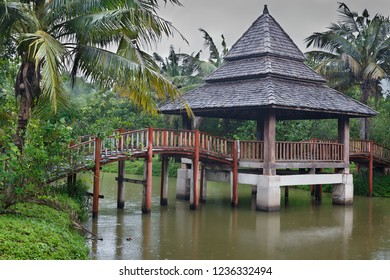 asian house bridge on the river (normal view)