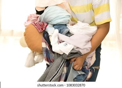 Asian housewife washing women used