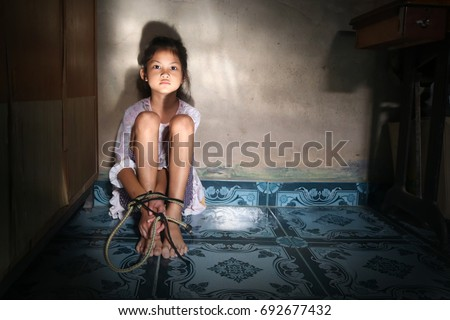 Asian girl rope tied
