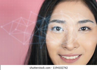 Asian human women face with a virtual Eye HUD interface animation in augmented reality. button working on virtual holographic interface.Futuristic monitor code and information hologram,Future concept