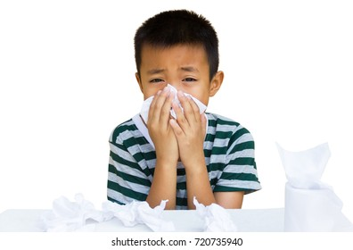 Asian kid blow the nose and sneeze.