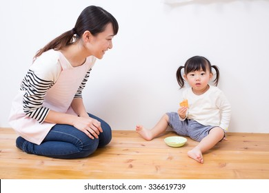 asian kid having snack
