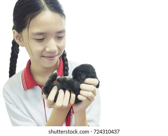 Asian kid playing with lovely baby rabbit isolated over white