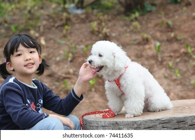 Asian kid playing with a toy poodle dog