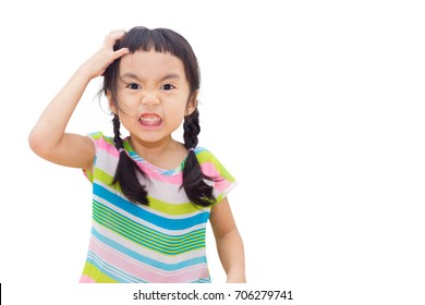 Asian kid is stressed on white background.