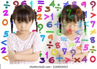 Asian kid stressed to study mathematics.