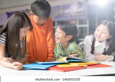 Asian Kid Study with fun and Happy at international school