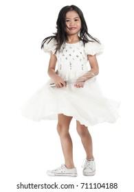 asian kids girl white dress fashion life style isolated on white background