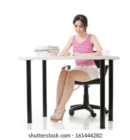Asian lady work with desk, full length portrait on white background.
