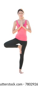 Asian Lady in yoga action with isolated background