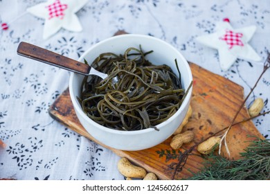 Asian laminaria (chuka salad) seaweed salad. Traditional Japanese, Korean and Chinese food in bowl
