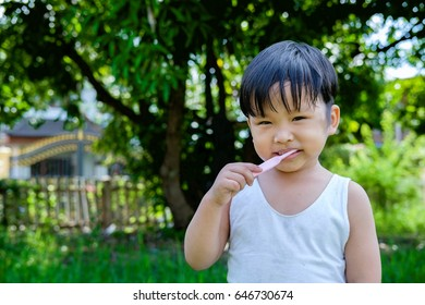 Asian Little boy brushing teeth, healthy concept.Close up